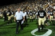 Sep 7, 2013; Boulder, CO, USA; Colorado Buffaloes head coach Mike Macintyre and running back Christian Powell (46) following the win over the Central Arkansas Bears at Folsom Field. The Buffaloes defeated the Bears 38-24. Mandatory Credit: Ron Chenoy-USA TODAY Sports