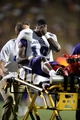 Sep 7, 2013; Boulder, CO, USA; Central Arkansas Bears inebacker Aum'Arie Wallace (16) reacts as he is carted off the field in the third quarter against the Colorado Buffaloes at Folsom Field. The Buffaloes defeated the Bears 38-24. Mandatory Credit: Ron Chenoy-USA TODAY Sports
