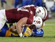 Sep 7, 2013; Stanford, CA, USA; Stanford Cardinal defensive end Henry Anderson (91) after making the sack against San Jose State Spartans quarterback David Fales (10) during the fourth quarter at Stanford Stadium. The Stanford Cardinal defeated the San Jose State Spartans 34-13. Mandatory Credit: Kelley L Cox-USA TODAY Sports