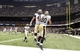 Sep 8, 2013; New Orleans, LA, USA; New Orleans Saints tight end Jimmy Graham (80) celebrates his touchdown against the Atlanta Falcons with teammate fullback Jed Collins (45) in the endzone during the third quarter at the Mercedes-Benz Superdome. Mandatory Credit: John David Mercer-USA TODAY Sports