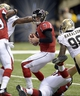 Sep 8, 2013; New Orleans, LA, USA; Atlanta Falcons quarterback Matt Ryan (2) has the pocket collapse around him under pressure from the New Orleans Saints defense during the third quarter at the Mercedes-Benz Superdome. Mandatory Credit: John David Mercer-USA TODAY Sports