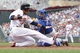 Sep 8, 2013; Minneapolis, MN, USA; Minnesota Twins shortstop Pedro Florimon (25)  is out at home plate as Toronto Blue Jays catcher J.P. Arencibia (9) applies the tag during the sixth inning against the Toronto Blue Jays at Target Field.  Mandatory Credit: Brad Rempel-USA TODAY Sports