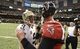 Sep 8, 2013; New Orleans, LA, USA; New Orleans Saints quarterback Drew Brees (9) greets Atlanta Falcons quarterback Matt Ryan (2) midfield following the Saints 23-17 victory at the Mercedes-Benz Superdome. Mandatory Credit: John David Mercer-USA TODAY Sports