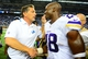 Sep 8, 2013; Detroit, MI, USA; Detroit Lions head coach Jim Schwartz (left) shakes hands with Minnesota Vikings running back Adrian Peterson (28) after being defeated by the Detroit Lions 34-24 at Ford Field. Mandatory Credit: Andrew Weber-USA TODAY Sports