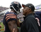 Sep 8, 2013; Chicago, IL, USA; Chicago Bears wide receiver Brandon Marshall (15) talks with Cincinnati Bengals head coach Marvin Lewis after the game at Soldier Field. Chicago defeats Cincinnati 24-21. Mandatory Credit: Mike DiNovo-USA TODAY Sports