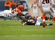 Sep 8, 2013; Chicago, IL, USA; Chicago Bears quarterback Jay Cutler (6) is tackled by Cincinnati Bengals outside linebacker Vontaze Burfict (55) during the second half at Soldier Field. Chicago won 24-21. Mandatory Credit: Dennis Wierzbicki-USA TODAY Sports