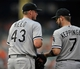 Sep 8, 2013; Baltimore, MD, USA; Chicago White Sox pitcher Addison Reed (43) is congratulated by Jeff Keppinger (7) after a game against the Baltimore Orioles at Oriole Park at Camden Yards. The White Sox defeated the Orioles 4-2. Mandatory Credit: Joy R. Absalon-USA TODAY Sports