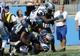 Sep 8, 2013; Charlotte, NC, USA; Carolina Panthers linebacker Luke Kuechly (59) stops Seattle Seahawks running back Marshawn Lynch (24) just short of the goal line during the game at Bank of America Stadium.  Seattle wins 12-7.  Mandatory Credit: Sam Sharpe-USA TODAY Sports