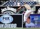 Sep 8, 2013; San Diego, CA, USA; San Diego Padres second baseman Jedd Gyorko (9) is unable to catch a line drive during the fifth inning against the Colorado Rockies at Petco Park.The Padres won 5-2. Mandatory Credit: Christopher Hanewinckel-USA TODAY Sports