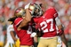 Sep 8, 2013; San Francisco, CA, USA; San Francisco 49ers defensive back C.J. Spillman (27) celebrates with defensive back Raymond Ventrone (41) after the play against the Green Bay Packers on the kickoff return during the fourth quarter at Candlestick Park. The San Francisco 49ers defeated the Green Bay Packers 34-28. Mandatory Credit: Kelley L Cox-USA TODAY Sports