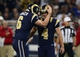 Sep 8, 2013; St. Louis, MO, USA; St. Louis Rams kicker Greg Zuerlein (4) celebrates with punter Johnny Hekker (6) after kicking the game winning 48 yard field goal against the Arizona Cardinals during the second half at Edward Jones Dome. St. Louis defeated Arizona 27-24. Mandatory Credit: Jeff Curry-USA TODAY Sports