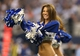 Sep 8, 2013; Arlington, TX, USA; Dallas Cowboys cheerleader Katie Marie performs during a timeout form the game against the New York Giants at AT&T Stadium.  The Dallas Cowboys beat the New York Giants 36-31. Mandatory Credit: Matthew Emmons-USA TODAY Sports