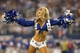 Sep 8, 2013; Arlington, TX, USA; Dallas Cowboys cheerleader Kinzie Ryanne performs during a timeout form the game against the New York Giants at AT&T Stadium.  The Dallas Cowboys beat the New York Giants 36-31. Mandatory Credit: Matthew Emmons-USA TODAY Sports