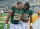 Sep 7, 2013; Waco, TX, USA; Baylor Bears running back Lache Seastrunk (25) and running back Devin Chafin (28) celebrate the win over the Buffalo Bulls at Floyd Casey Stadium. The Bears defeated the Bulls 70-13. Mandatory Credit: Jerome Miron-USA TODAY Sports