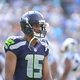 Sep 8, 2013; Charlotte, NC, USA; Seattle Seahawks wide receiver Jermaine Kearse (15) on the field in the fourth quarter. The Seahawks defeated the Panthers 12-7 at Bank of America Stadium. Mandatory Credit: Bob Donnan-USA TODAY Sports