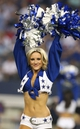 Sep 8, 2013; Arlington, TX, USA; Dallas Cowboys cheerleader Jordan Daigle performs during a timeout form the game against the New York Giants at AT&T Stadium.  The Dallas Cowboys beat the New York Giants 36-31. Mandatory Credit: Matthew Emmons-USA TODAY Sports