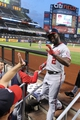 Sep 9, 2013; New York, NY, USA; Washington Nationals center fielder Denard Span (2) gets high fives in the dugout after hitting a solo home run against the New York Mets during the first inning of a game at Citi Field. Mandatory Credit: Brad Penner-USA TODAY Sports