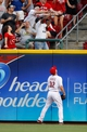 Sep 9, 2013; Cincinnati, OH, USA; Cincinnati Reds right fielder Jay Bruce (32) watches the home run of the Chicago Cubs center fielder Ryan Sweeney (not pictured) during the second inning at Great American Ball Park. Mandatory Credit: Frank Victores-USA TODAY Sports