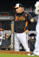 Sep 9, 2013; Baltimore, MD, USA; Baltimore Orioles manager Buck Showalter (26) in the dugout during the third inning against the New York Yankees at Oriole Park at Camden Yards. Mandatory Credit: Joy R. Absalon-USA TODAY Sports