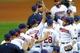 Sep 9, 2013; Cleveland, OH, USA; Cleveland Indians second baseman Jason Kipnis (right) celebrates a 4-3 win over the Kansas City Royals at Progressive Field. Mandatory Credit: David Richard-USA TODAY Sports