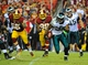 Sep 9, 2013; Landover, MD, USA; Philadelphia Eagles running back LeSean McCoy (25) runs with the ball against the Washington Redskins during the second half at FedEX Field. The Eagles won 33 - 27. Mandatory Credit: Brad Mills-USA TODAY Sports