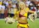Sep 9, 2013; Landover, MD, USA; Washington Redskins cheerleader performs during the game against the Philadelphia Eagles at FedEX Field. The Eagles won 33 - 27. Mandatory Credit: Brad Mills-USA TODAY Sports