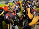 Sep 9, 2013; San Diego, CA, USA; Houston Texans running back Cierre Wood (41) celebrates with kicker Randy Bullock (4) after a 31-28 win against the San Diego Chargers at Qualcomm Stadium. Mandatory Credit: Christopher Hanewinckel-USA TODAY Sports