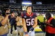Sep 9, 2013; San Diego, CA, USA; Houston Texans line backer Brian Cushing (56) walks off the field after a 31-28 win against the San Diego Chargers at Qualcomm Stadium. Mandatory Credit: Christopher Hanewinckel-USA TODAY Sports