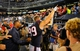 Sep 9, 2013; San Diego, CA, USA; Houston Texans defensive end J.J. Watt (99) celebrates as he walks off the field after a 31-28 win against the San Diego Chargers at Qualcomm Stadium. Mandatory Credit: Christopher Hanewinckel-USA TODAY Sports