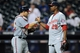 Sep 10, 2013; New York, NY, USA; Washington Nationals relief pitcher Rafael Soriano (29) and catcher Wilson Ramos (40) shake hands after defeating the New York Mets at Citi Field. The Nationals won the game 6-3. Mandatory Credit: Joe Camporeale-USA TODAY Sports