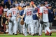 Sep 10, 2013; New York, NY, USA; The Washington Nationals celebrate their victory over the New York Mets at Citi Field. The Nationals won the game 6-3. Mandatory Credit: Joe Camporeale-USA TODAY Sports