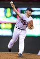 Sep 10, 2013; Minneapolis, MN, USA; Minnesota Twins pitcher Liam Hendriks (62) delivers a pitch during the fourth inning against the Oakland Athletics at Target Field. Mandatory Credit: Brace Hemmelgarn-USA TODAY Sports