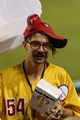 Sep 10, 2013; Philadelphia, PA, USA; A Philadelphia Phillies popcorn vendor at work during the fifth inning against the San Diego Padres at Citizens Bank Park. The Padres defeated the Phillies 8-2. Mandatory Credit: Howard Smith-USA TODAY Sports