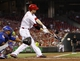 Sep 10, 2013; Cincinnati, OH, USA; Cincinnati Reds third baseman Todd Frazier (21) hits a broken bat single during the second inning against the Chicago Cubs at Great American Ball Park. Mandatory Credit: Frank Victores-USA TODAY Sports