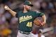 Sep 10, 2013; Minneapolis, MN, USA; Oakland Athletics pitcher Ryan Cook (48) delivers a pitch during the eighth inning against the Minnesota Twins at Target Field. The Twins won 4-3. Mandatory Credit: Brace Hemmelgarn-USA TODAY Sports
