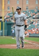 Sep 8, 2013; Baltimore, MD, USA; Chicago White Sox designated hitter Adam Dunn (32) after striking out in the third inning against the Baltimore Orioles at Oriole Park at Camden Yards. The White Sox defeated the Orioles 4-2. Mandatory Credit: Joy R. Absalon-USA TODAY Sports