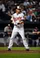 Sep 9, 2013; Baltimore, MD, USA; Baltimore Orioles catcher Matt Wieters (32) bats in the seventh inning against the New York Yankees at Oriole Park at Camden Yards. The Orioles defeated the Yankees 4-2. Mandatory Credit: Joy R. Absalon-USA TODAY Sports