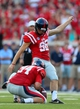 Sep 7, 2013; Oxford, MS, USA; Mississippi Rebels kicker Andrew Ritter (96) kicks the ball during the game against the Southeast Missouri State Redhawks at Vaught-Hemingway Stadium. Mississippi Rebels defeated the Southeast Missouri State Redhawks 31-13.  Mandatory Credit: Spruce Derden-USA TODAY Sports
