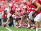Sep 7, 2013; Madison, WI, USA; The Wisconsin Badgers offense during the game against the Tennessee Tech Golden Eagles at Camp Randall Stadium.  Wisconsin won 48-0.  Mandatory Credit: Jeff Hanisch-USA TODAY Sports