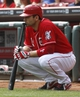 Sep 11, 2013; Cincinnati, OH, USA; Cincinnati Reds first baseman Joey Votto watches on deck in the first inning during a game against the Chicago Cubs at Great American Ball Park. Mandatory Credit: David Kohl-USA TODAY Sports