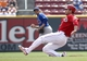 Sep 11, 2013; Cincinnati, OH, USA; Cincinnati Reds first baseman Joey Votto slides as he steals second base in the third inning against the Chicago Cubs at Great American Ball Park. Mandatory Credit: David Kohl-USA TODAY Sports