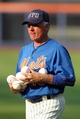 Sep 11, 2013; New York, NY, USA; New York Mets manager Terry Collins (10) wears a NYPD cap in remembrance of 9/11/01 during batting practice before a game against the Washington Nationals at Citi Field. Mandatory Credit: Brad Penner-USA TODAY Sports