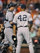 Sep 11, 2013; Baltimore, MD, USA; New York Yankees pitcher Mariano Rivera (42) is congratulated by catcher Chris Stewart (19) after a game against the Baltimore Orioles at Oriole Park at Camden Yards. The Yankees defeated the Orioles 5-4. Mandatory Credit: Joy R. Absalon-USA TODAY Sports