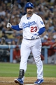 Sep 11, 2013; Los Angeles, CA, USA; Los Angeles Dodgers first baseman Adrian Gonzalez (23) reacts after striking out in the third inning against the Arizona Diamondbacks at Dodger Stadium. Mandatory Credit: Kirby Lee-USA TODAY Sports