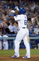 Sep 11, 2013; Los Angeles, CA, USA; Los Angeles Dodgers right fielder Yasiel Puig (66) reacts after hitting a solo home run in the seventh inning against the Arizona Diamondbacks at Dodger Stadium. The Diamondbacks defeated the Dodgers 4-1. Mandatory Credit: Kirby Lee-USA TODAY Sports