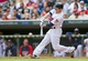 Sep 12, 2013; Minneapolis, MN, USA; Minnesota Twins center fielder Alex Presley (1) hits a single in the eighth inning against the Oakland Athletics at Target Field. Mandatory Credit: Brad Rempel-USA TODAY Sports