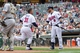 Sep 12, 2013; Minneapolis, MN, USA; Minnesota Twins outfielder Oswaldo Arcia (31) gets congratulated by designated hitter Ryan Doumit (9) after his home run in the eighth inning against the Oakland Athletics at Target Field. Mandatory Credit: Brad Rempel-USA TODAY Sports
