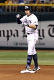 Sep 12, 2013; St. Petersburg, FL, USA; Tampa Bay Rays third baseman Evan Longoria (3) reacts after he it a double during the eighth inning against the Boston Red Sox at Tropicana Field. Tampa Bay Rays defeated the Boston Red Sox 4-3. Mandatory Credit: Kim Klement-USA TODAY Sports