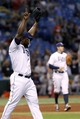 Sep 12, 2013; St. Petersburg, FL, USA; Tampa Bay Rays relief pitcher Fernando Rodney (56) reacts after the last out to beat the Boston Red Sox at Tropicana Field. Tampa Bay Rays defeated the Boston Red Sox 4-3. Mandatory Credit: Kim Klement-USA TODAY Sports