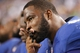 Sep 8, 2013; Arlington, TX, USA; New York Giants defensive end Justin Tuck (91) on the sidelines during the game against the Dallas Cowboys at AT&T Stadium. The Dallas Cowboys beat the New York Giants 36-31. Mandatory Credit: Tim Heitman-USA TODAY Sports